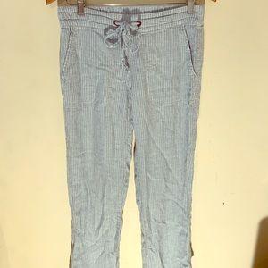Wide-leg light blue stripe summer pants